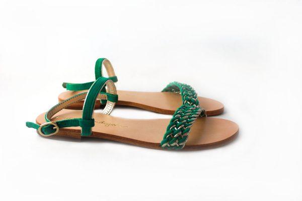 sandalia plana cuero trenza verde