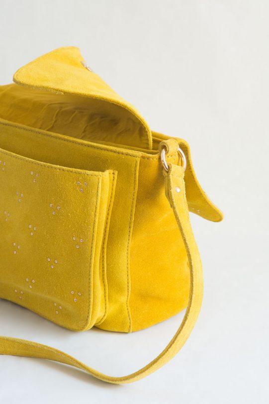 bolso amarillo tachuelas ante fur for you