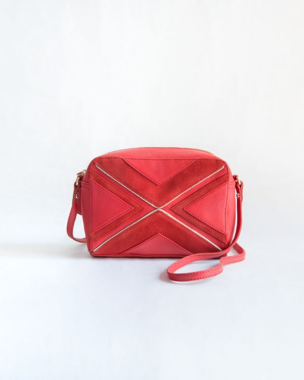bolso rojo piel ante cuero