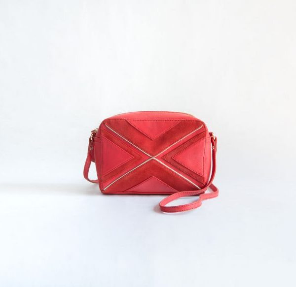 bolso rojo cuero ante fur for you