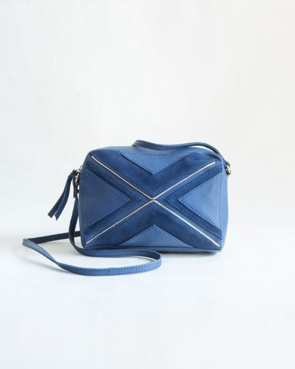 bolso azul cuero ante fur for you