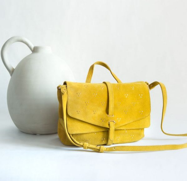bolso amarillo tachuelas ante fur for you