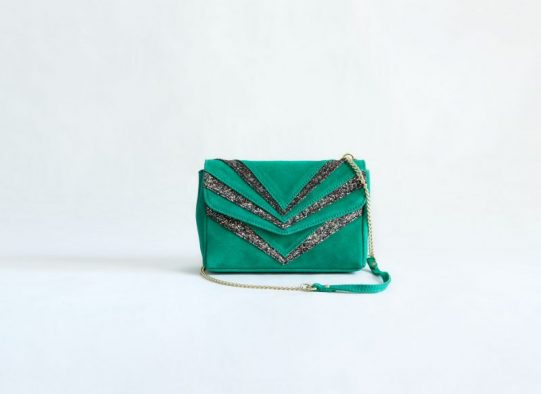 bolso verde fiesta cadenas lentejuelas ante fur for you
