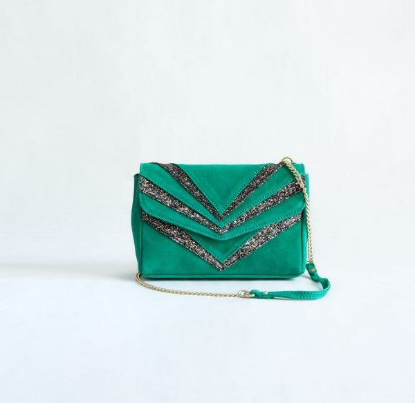 bolso verde fiesta cadenas lentejuelas ante fur for you