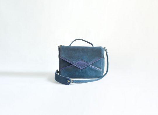 bolso ante azul triangulo