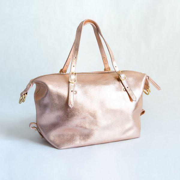 bolso rosa metalizado cuero
