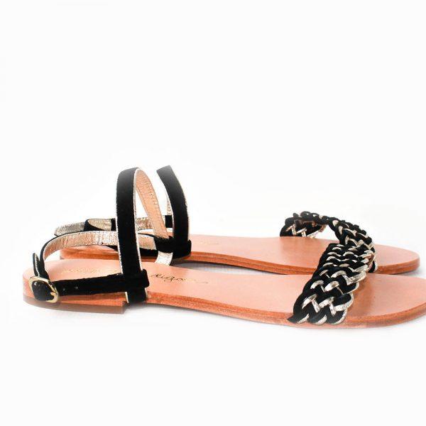 sandalia plana negro trenza