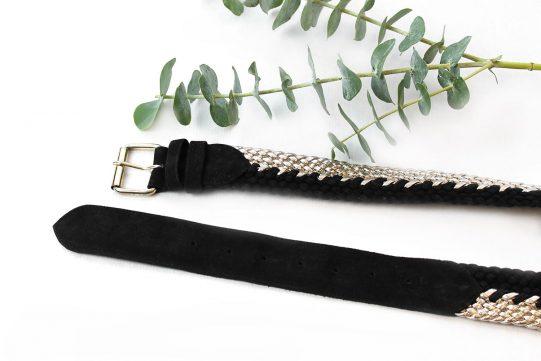 cinturon ante negro trenzado