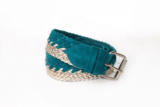 cinturon ante verde trenzado